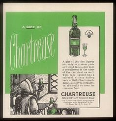 1961 Chartreuse green Liqueur Carthusian monk in monastery vintage print ad