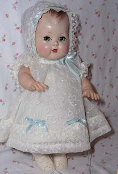~ Molded Hair 'Tiny Tears' Doll ~ (1956).  Love the crispness of her outfit.