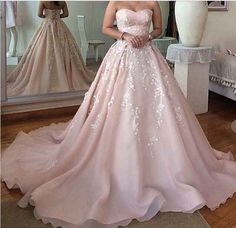 Romantic Wedding Dress,Sweetheart Prom Dress,Appliques Prom Dress,Lace-Up