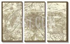 Sepia Map of Paris Canvas Art Set at Art.com