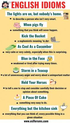 Educational infographic : Top 20 Funny Idioms in English You Might Not Know! - ESL Forums - Educational infographic : Top 20 Funny Idioms in English You Might Not Know! English Writing Skills, Learn English Grammar, English Vocabulary Words, Learn English Words, English Phrases, English Language Learning, English Lessons, English English, English Language Funny
