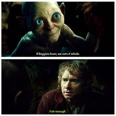 One of my very favorite parts!! cute little Gollum with his big eyes