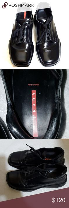 Men's Prada shoes 7.5 Black Prada men's shoes made in Italy size 7.5 black color and they are in excellent condition where they are really nice and heavy. You would love them I wish they were my size. I'm selling them at an excellent price so get them today. Prada Shoes Oxfords & Derbys