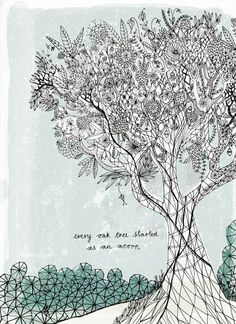 oak tree art print 7x10