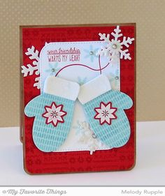 Cozy Mittens stamp set and Die-namics, Nordic Knits, Sweater Stitch Background, Let It Snowflake Die-namics, Stitched Rounded Rectangle STAX Die-namics - Melody Rupple #mftstamps