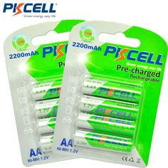 8 Unids/2 tarjeta AA PKCELL Batería Recargable AA NiMH 1.2 V 2200 mAh Ni-MH 2A pre-cargado Bateria Recargable de Baterías para Cámara