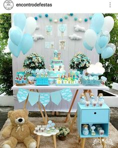 Planning a baby shower? I can't imagine a baby shower without a dessert table, and today I've prepared some ideas for you to get inspired. Idee Baby Shower, Shower Bebe, Baby Shower Table, Boy Baby Shower Themes, Baby Shower Balloons, Baby Shower Cakes, Shower Party, Baby Shower Parties, Baby Boy Shower