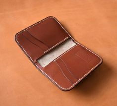 Medium Brown Leather Minimalist Wallet Leather by MonkMadeGoods