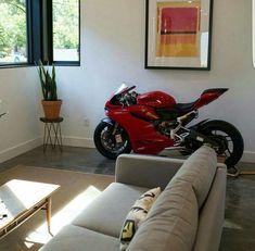 Lifestyle of Mr.X — Just park the Ducati inside Motorcycle Workshop, Motorcycle Men, Motorcycle Garage, Motorcycle Quotes, Living Room Setup, New Living Room, Z 1000, Dirt Bike Girl, Man Room