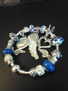 Angel Wings European Charm Bracelet, I love you to the moon and back