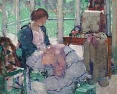 The Athenaeum - Young Lady Sewing (Richard Edward Miller - No dates listed)