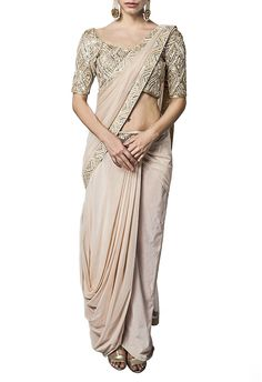 Off white embellished dhoti sari by Ritika Mirchandani - Shop at Aza