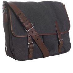 Prada navy canvas leather trim messenger bag