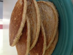 Biggest Loser Oatmeal Pancakes - very good!  6 egg whites, 1 cup dry oatmeal, 1 cup cottage cheese, 2 tsp sugar, 1 tsp cinnamon, 1 tsp vanilla.  Combine until smooth, pour by 1/4 cup onto griddle sprayed with cooking spray.  Flip once.  Makes 9-10, 1 weight watchers point plus per pancake.
