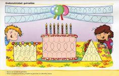 Schrijfpatroon feest Birthday Songs, Happy Birthday, Literacy Games, Preschool Writing, Free Teaching Resources, Writing Skills, Pre School, Phonics, Homeschool