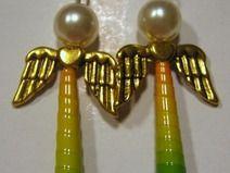 Ohrringe Engel gold gelb-grün-blau