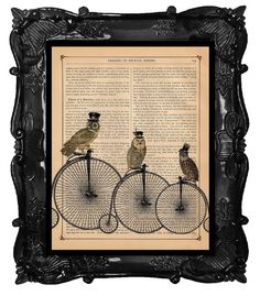 TOP HAT OWLS on a Penny Farthing Bicycles bikes print over an antique vintage dictionary page book art steampunk owl print    ♥ Taking three of our