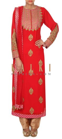 Buy this Red straight suit adorn in zari embroidered butti only on Kalki