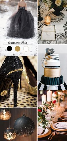 black and gold wedding colors, black tie glam wedding, glitter glam wedding, winter wedding ideas