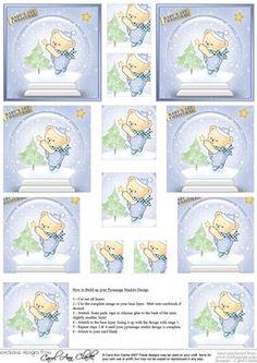 Baby s First Christmas Snowglobe Pyramage sheet on Craftsuprint - Add To Basket! Christmas Decoupage, 3d Christmas, Christmas Cards To Make, Babies First Christmas, Paper Trees, 3d Cards, Snow Globes, Cardmaking, Stationary