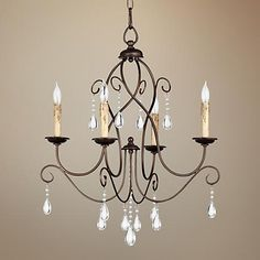 Sparkling with clear glass crystal drops, this oiled bronze finish chandelier adds sophistication to rustic interiors. Comes with of chain and of wire. Style # at Lamps Plus. Glass Pendant Light, Lamps Plus, Bronze Bedroom, Chandelier Makeover, Chandelier Lighting, Chandelier Bedroom, Chandelier, Bathroom Chandelier, Room Lights