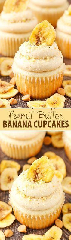 Butter Banana Cupcakes Peanut Butter Banana Cupcakes - moist, fluffy banana cupcakes with peanut butter cream cheese frosting!Peanut Butter Banana Cupcakes - moist, fluffy banana cupcakes with peanut butter cream cheese frosting! Mini Desserts, Just Desserts, Delicious Desserts, Dessert Recipes, Gourmet Cupcake Recipes, Homemade Cupcake Recipes, Cupcake Recipes From Scratch, Delicious Cupcakes, Gourmet Desserts