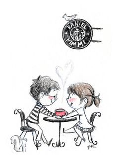 Le Petit Elefant by Genevieve Santos - Greetings & illustrations to awaken the adventure-seeking, silly, romantic kid in you. Cute Couple Drawings, Cute Drawings, I Love Coffee, Coffee Art, Coffee Icon, Brown Coffee, Image Couple, Couple Cartoon, Illustrations