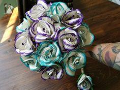 Hand Painted Custom Book Page Bouquet - Choose Your Colors Custom Bouquet - Optional Boutonniere - Wedding table decor (*Amazon Partner-Link)