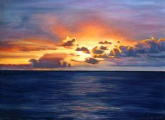 Oil painting of brilliant sunset over the water in Aruba. by Sue Birkenshaw