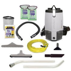 ProTeam Backpack Vacuums, ProVac FS 6 Commercial Backpack Vacuum with HEPA Media Filtration and Restaurant Tool Kit, 6 Quart, Corded Canister Vacuums Central Vacuum Systems Handheld Vacuums Robotic Vacuums Stick Vacuums Carpet Tools, Backpack Vacuum, Residential Cleaning Services, Janitorial Supplies, Hard Floor, Cool Backpacks, Reusable Bags, Tool Kit, Commercial