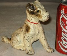 ANTIQUE HUBLEY SOLID CAST IRON FOX TERRIER DOG