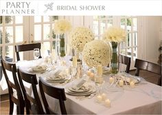 Bridal Shower brunch table in all whites and ivories