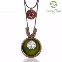 Wooden Tree Tag pendant Long necklace a1aed798457bc