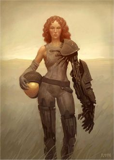 Field Unit by Chris Rahn. Cyborg with a Robot arm.