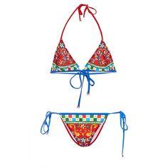 Dolce & Gabbana Triangle Printed Bikini Set (21,005 THB) ❤ liked on Polyvore featuring swimwear, bikinis, gstring bikini, triangular swimwear, triangle swim wear, string bikini swimwear and thong bikini swimwear