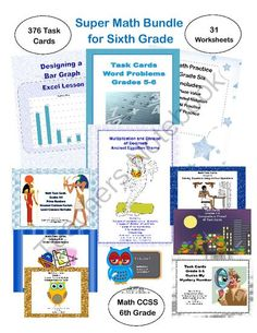 Super Math Bundle for Sixth Grade - 5 CCSS from Mrs. Mc's Shop on TeachersNotebook.com -  (161 pages)  - This collection has 376 task cards and 31 worksheets that address many of the common core math standards for sixth grade.