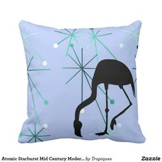 Atomic Starburst Mid Century Modern Flamingo Throw Pillow