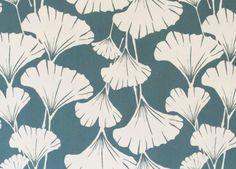 "Royal Ginko - teal - Organic cotton fabric - 18"" x 28"" Wide fat quarter"