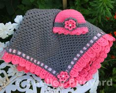 Granny Square and Ribbon Baby Blanket Set - Free Pattern