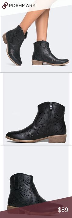8b27478f762 Black Perforated Black Urban Outfitters Shoes Ankle Boots   Booties