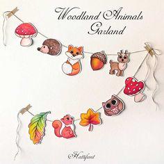 A gorgeous Woodland Animal Garland for you to craft. Choose from line art to color them yourself or in color. A FREE Hattifant offer.