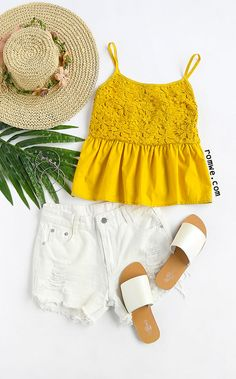 Yellow Lace Splicing Ruffle Cami Top Season: Summer Color: Yellow Pattern Type: Plain Neckline: Spaghetti Strap Material: Polyester Style: Cute