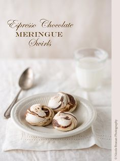 Espresso Chocolate Meringue Swirls - Delicious and very pretty meringue cookies flavored with espresso and baked with melted chocolate.