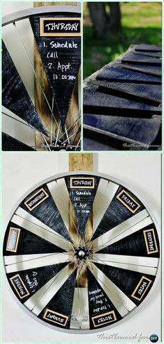 DIY Bicycle Wheel Chalkboard Calendar Instruction - DIY Ways to Recycle Bike Rims