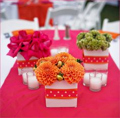 Pink and orange table flowers Party Centerpieces, Flower Centerpieces, Wedding Decorations, Table Decorations, Colorful Centerpieces, Centerpiece Ideas, Birthday Decorations, Wedding Flower Arrangements, Wedding Flowers