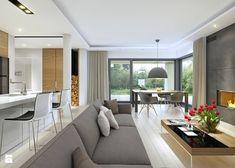DOBRY 1 - niewielki dom parterowy z garażem - Duży salon z kuchnią z jadalnią z tarasem / balkonem, styl nowoczesny - zdjęcie od DOMY Z WIZJĄ - nowoczesne projekty domów