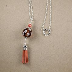 Tassel Necklace Orange Brown Lampwork Glass Bead Silver Chain