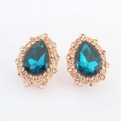 Acid blue Stud Earring, Teardrop, with rhinestone, more colors.