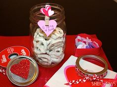 Use mason jars as a decorative way to share sweet treats with your Valentine!