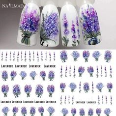 1 sheet Lavender Flower Water Decals Purple Blooming Flower Nail Transfer Decals Nail Art Water Seal Water Slide -- You can find more details by visiting the image link. (This is an affiliate link) Simple Nail Art Designs, Best Nail Art Designs, Nail Designs Spring, Beautiful Nail Designs, Easy Nail Art, Acrylic Nail Designs, Cool Nail Art, Acrylic Nails, Diy Nails